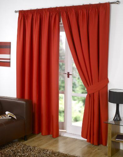 "Pair of RED 46"" Width x 54"" Drop , Supersoft Thermal BLACKOUT Curtains INCLUDING PAIR OF MATCHING TIE BACKS, 'Winter Warm but Summer Cool' by VICEROY BEDDING Viceroybedding http://www.amazon.co.uk/dp/B0087ON9RW/ref=cm_sw_r_pi_dp_B6Udvb0GWCFRJ"