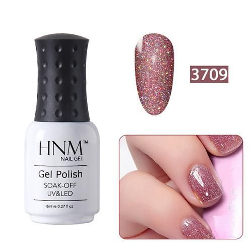 HNM 8ml Bling Nail Polish Neon Nail Varnishes UV Lamp Nail lacquer Vernis a ongle Nagell Vernis Semi Permanent Base Top Coat