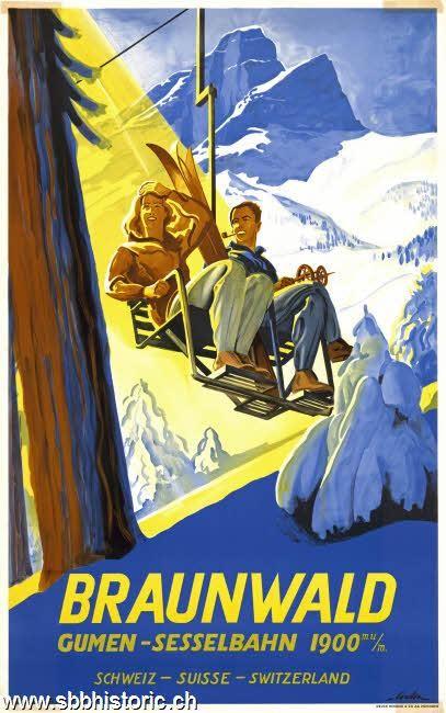 SWITZERLAND - Braunwald Gumen-Sesselbahn #Vintage #Travel #Winter sports