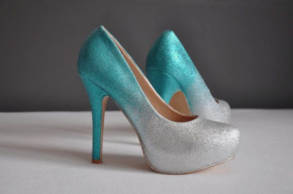 Teal wedding shoes teal ombre shoes teal high heels by RagzDagzTM