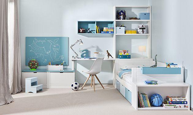 Dormitorio juvenil distribuido en tres zonas