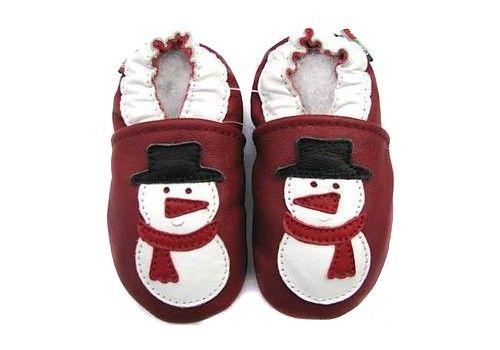 Chaussons cuir souple bonhomme de neige Carozoo - http://www.lilinappy.fr/chaussons-cuir-souple-bonhomme-de-neige-carozoo.html