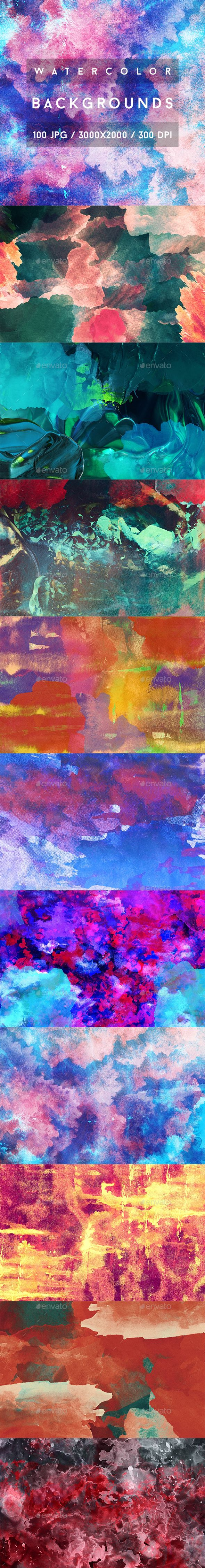 100 Watercolor Backgrounds - Abstract #Backgrounds Download here: https://graphicriver.net/item/100-watercolor-backgrounds/19584727?ref=alena994