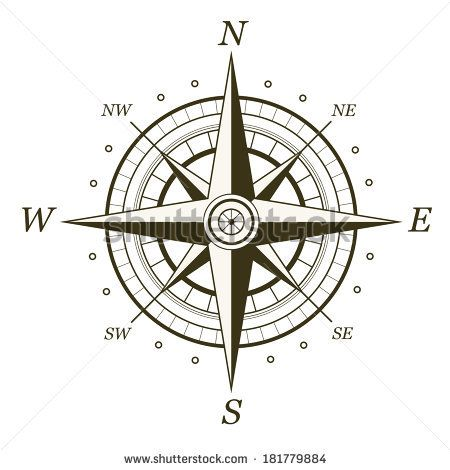 Classic wind rose isolated on white background. Raster version illustration. by Andrew Scherbackov, via Shutterstock