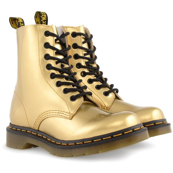 DR. MARTENS Pascal Metallic shoes (425 BRL) ❤ liked on Polyvore featuring shoes, boots, ankle booties, botas, dr. martens, gold, gold koram flash, lace-up ankle booties, lace-up bootie and gold ankle boots