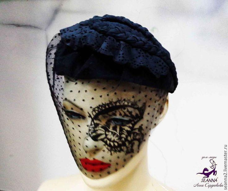 """Купить Шляпка-ободок """"Таинственная незнакомка"""" из замши-стрейч, кружева и сет - черный, шляпка, ободок"""
