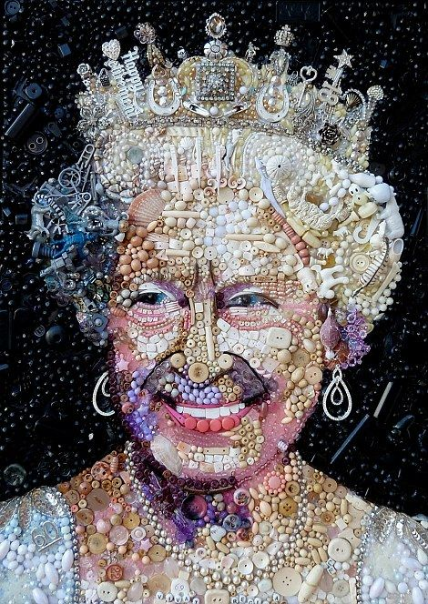 Thrifty art: The Queen would approve of how Jane Perkins has recycled rubbish including old buttons to create portraits of her in her youth, left, and today