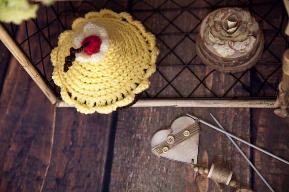 newborn baby girl crochet cake with cherry hat newborn