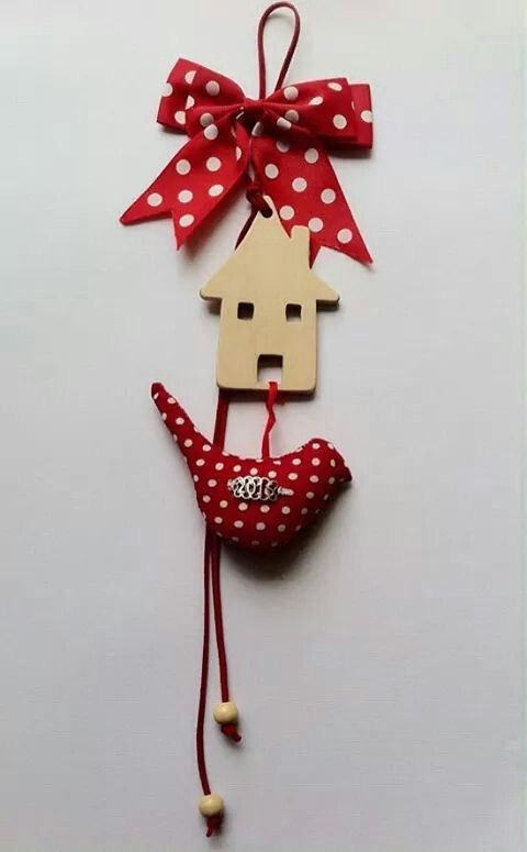 Christmas decoration. Wooden handmade long charm with bird.  By KIKOmania  13€  Γούρι χειροποίητο