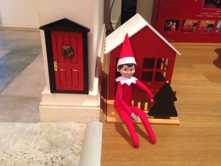 Elvis our elf now has a door and a house. House is a Kaisercraft cottage from Spotlight. Making memories that will last a lifetime. That's why I love Christmas #Spotlight40 #elfontheshelf