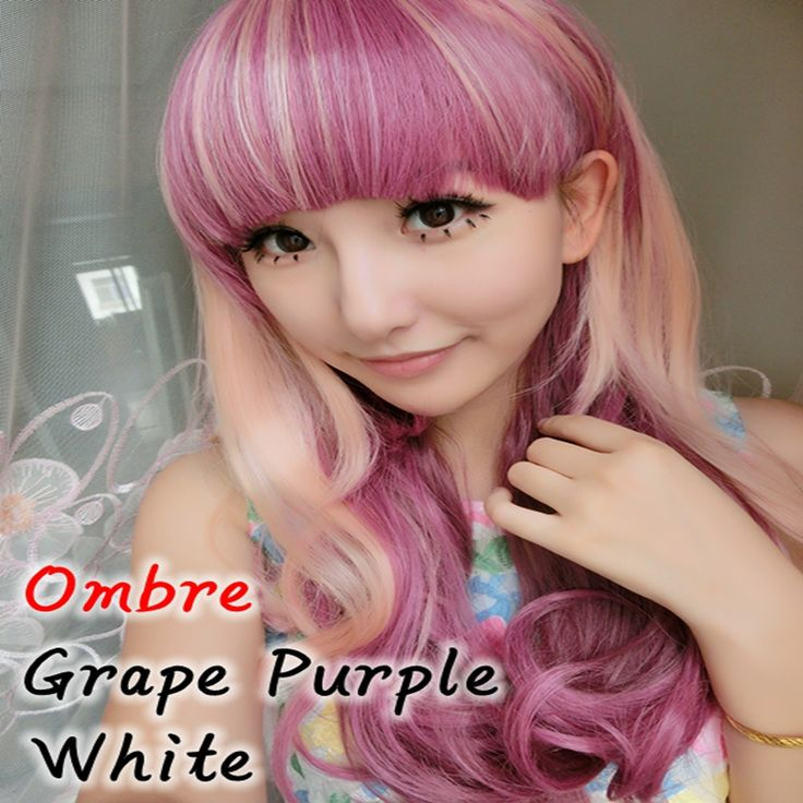 Synthetic Hair Extension Wig 1PC/lot Flat Bang Long Kinky Curly Hairstyles Ombre Grape Purple With White Ice Cream Cosplay Wig.Made by 100% Japan high temperature fiber,looks like real hair and more confortable,soft,breathable.It brings out a positive and happy mood everywhere around us and that to make some change in the hairstyle.A comfortable experience, a confident appearance.Ok, maybe  you can think about the cosplay wigs.