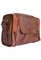 Men's Woodland Leather Brown Leather Wash Bag