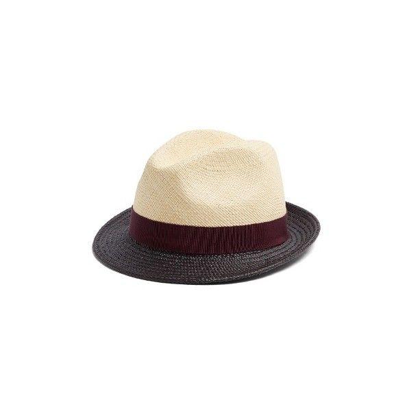 Prada Tri-colour straw hat (1.865 BRL) ❤ liked on Polyvore featuring men's fashion, men's accessories, men's hats, multi, mens straw hats, mens trilby hats, mens straw trilby hats, men's brimmed hats and mens wide brim straw hat