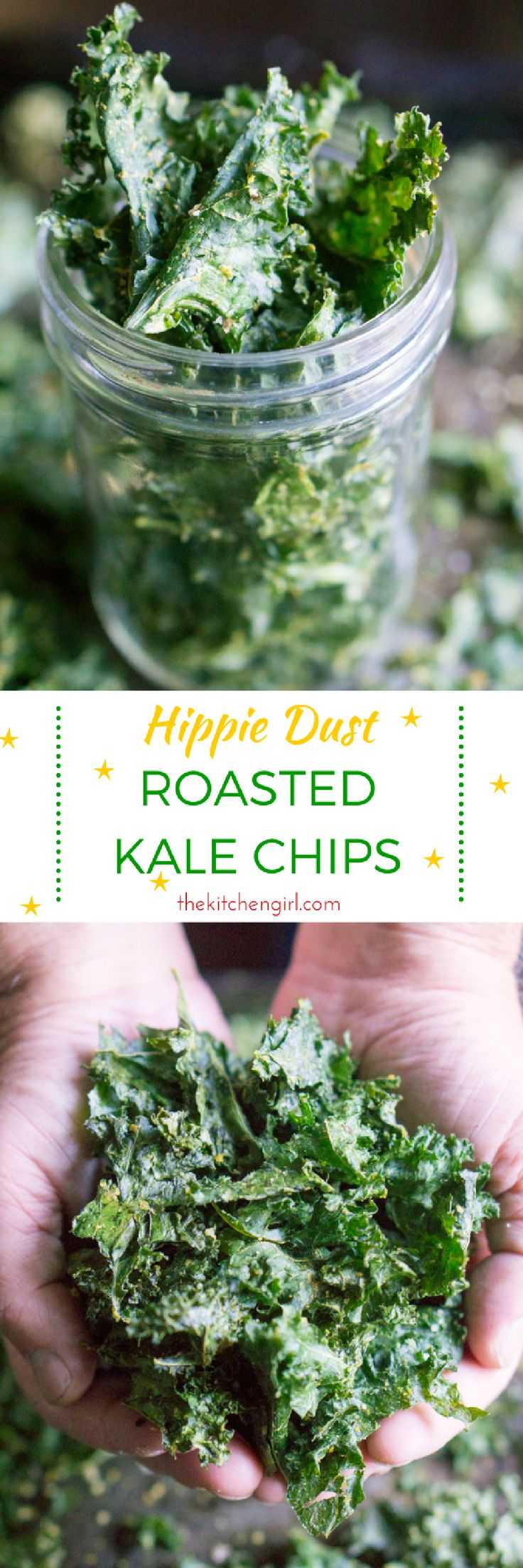 Omg…crazy easy to make! Delicate crisp, superfood Hippie Dust Roasted Kale Chips are a no brainer in our house. Vegan, GF, Paleo thekitchengirl.com