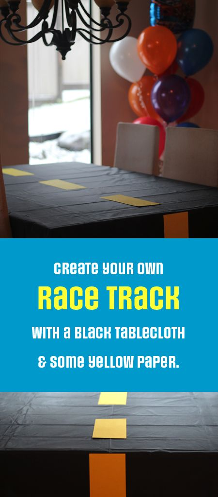 Make your own race track tablecloth.  Rosa Pearson @ FlutterFlutter