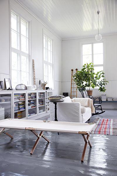 //White Living, White Spaces, Livingroom, Interiors Design, Living Room, Painting Floors, High Ceilings, White Wall, Painted Floors