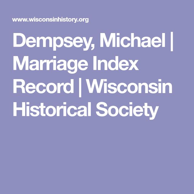 Dempsey, Michael | Marriage Index Record | Wisconsin Historical Society