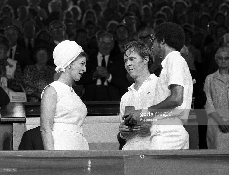 Sport, Tennis, All England Lawn Tennis Championships, Wimbledon, England, 2nd July 1971, Mens Doubles Final, Princess Alexandra talks with Men's Doubles losing finalists, America's Dennis Ralston (centre) and Arthur Ashe after they had lost to Australia's Rod Laver and Roy Emerson 4-6, 9-7, 6-8, 6-4, 6-4