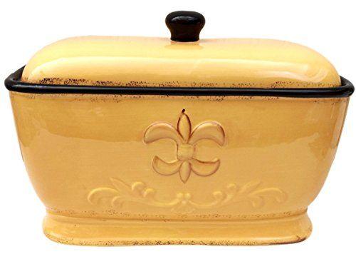 Tuscany Fleur De Lis Bread Box  Toast Jar Color Yellow -- undefined #KitchenStorageOrganizations