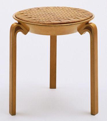 "Stool (no. V63) Alvar Aalto (Finnish, 1898–1976) 1946-47. Solid and laminated wood and rattan, 17 3/4 x 17 1/2"" (45.1 x 44.5 cm). Manufactured by Oy Huonekalu-ja Rakennustyötehdas Ab, Turku, Finland. Marshall Cogan Purchase Fund"