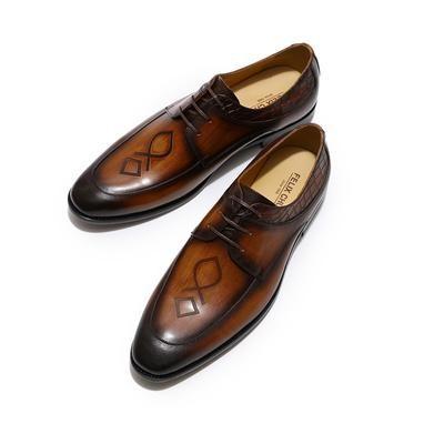 Men's Shoes Felix Chu Mens Apron Toe Derby Shoe Brown Green Genuine Leather Lace Up Oxford Mens Dress Shoes Casual Business Man Shoes