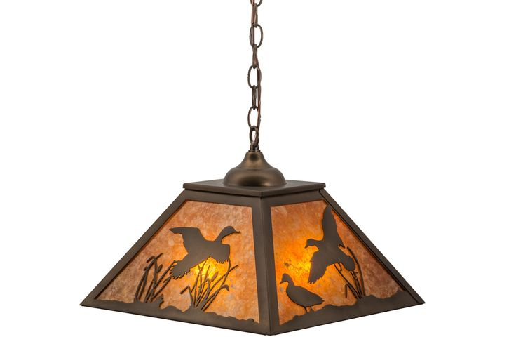 16 Inch Sq Ducks In Flight Pendant. 16 Inch Sq Ducks In Flight PendantDucks fly and waddle about the cattails and marshgrasses in this wildlife inspired original lighting fixture. Beautiful ambient lighting is projected through stunning Amber Mica with a frame and hardware hand finished in Antique Copper. The pendant is handcrafted in the USA by Meyda artisans in the Yorkville, NY manufacturing facility located at the foothills of the Adirondack Mountains. Wildlife and other...
