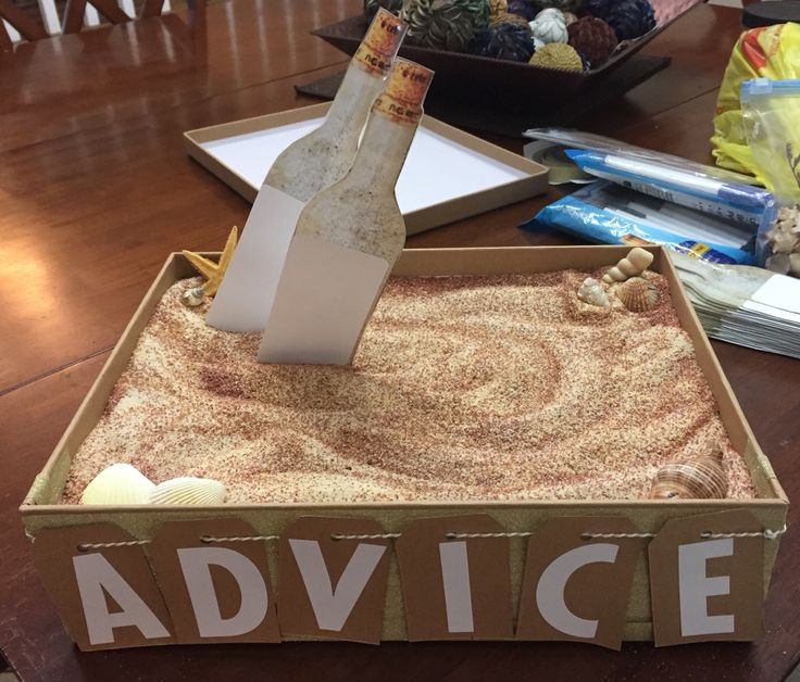 """Marriage advice for a beach themed bridal shower. """"Message in a bottle."""" Print a picture of a bottle and use a label for guests to write on. Display in a small box with sand and shells."""