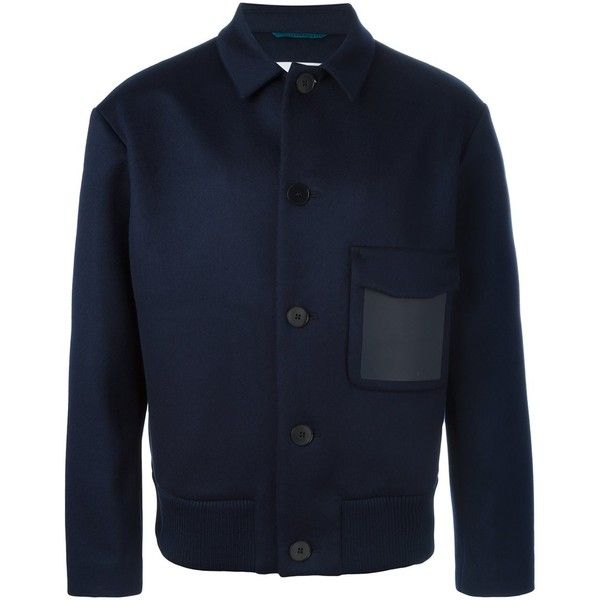 Oamc buttoned jacket ($1,860) ❤ liked on Polyvore featuring men's fashion, men's clothing, men's outerwear, men's jackets, blue, mens button up leather jacket, mens button up jacket, mens blue jacket, mens leather jackets and mens blue leather jacket