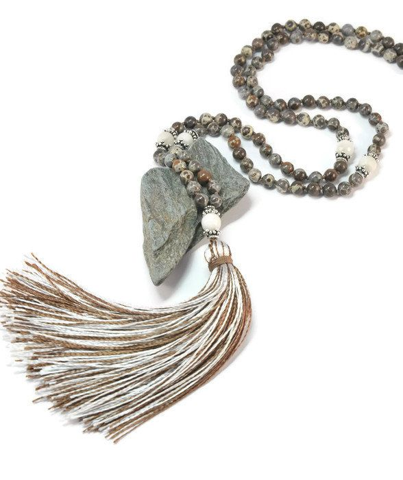Brown Agate Necklace Mala