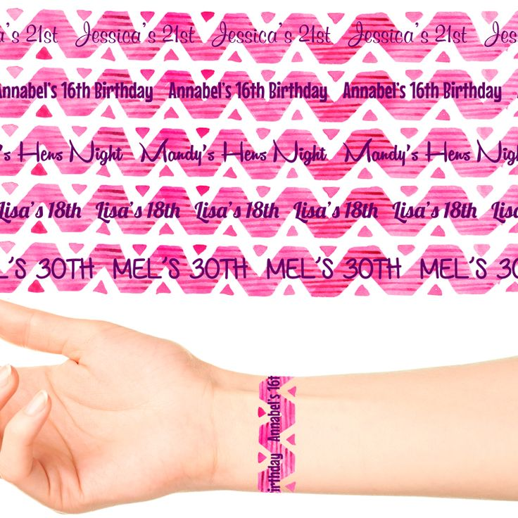 Wrist Band Personalised Tattoo #1093 (17 x 20cm Bands)
