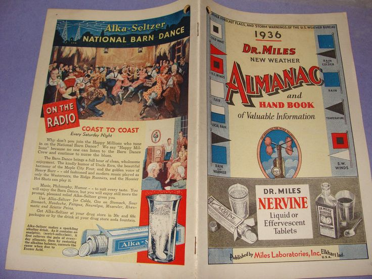 1936 Dr Miles New Weather Almanac & Hand Book Booklet Miles Laboratories Ads