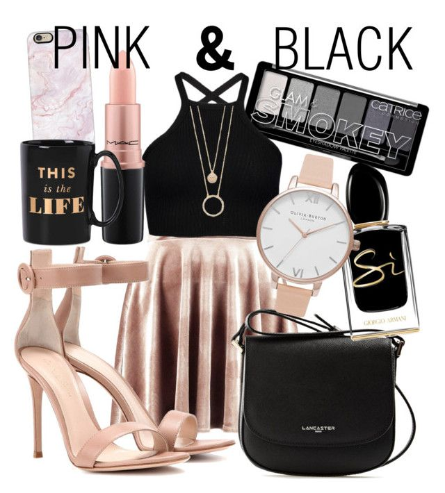 Pink & Black by natalka-safranekova on Polyvore featuring polyvore fashion style Boohoo Gianvito Rossi Lancaster Olivia Burton Kate Spade Casetify MAC Cosmetics Giorgio Armani clothing