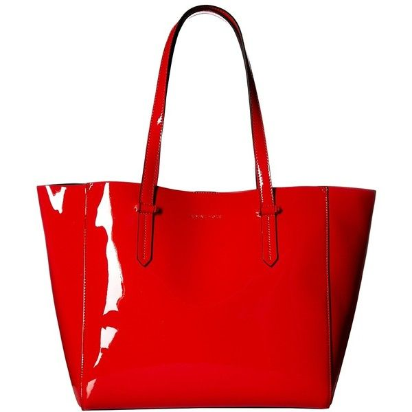 KENDALL + KYLIE Izzy Tote (Fiery Red) Tote Handbags ($105) ❤ liked on Polyvore featuring bags, handbags, tote bags, red handbags, embossed handbags, red purse, red tote and chain strap handbag