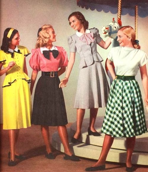Lovely juniors fashions from 1948. #vintage #1940s #fashion #dresses