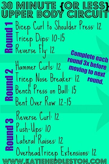 30 minute upper body circuit workout.jpg   Working on my ...