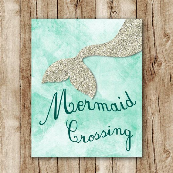 mermaid printable silver glitter wall art, turquoise girls room decor, aqua green nursery printables, mermaid poster, mermaid wall decor