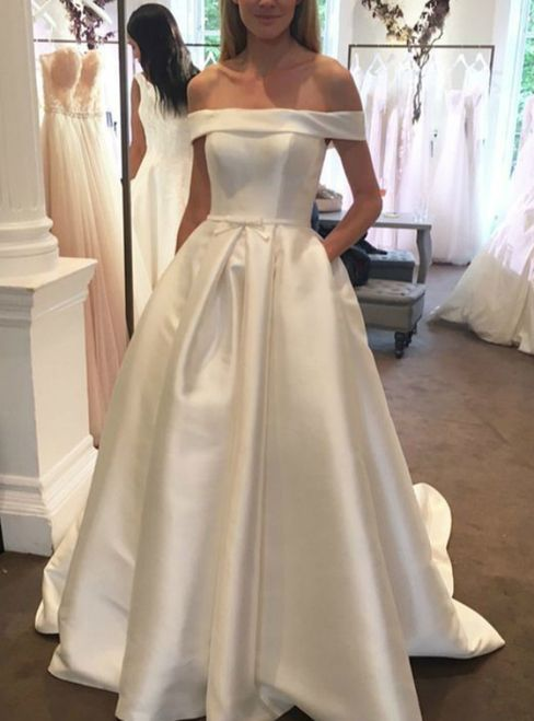 96a560feff A-Line White Satin Off The Shoulder With Button Wedding Dress in ...