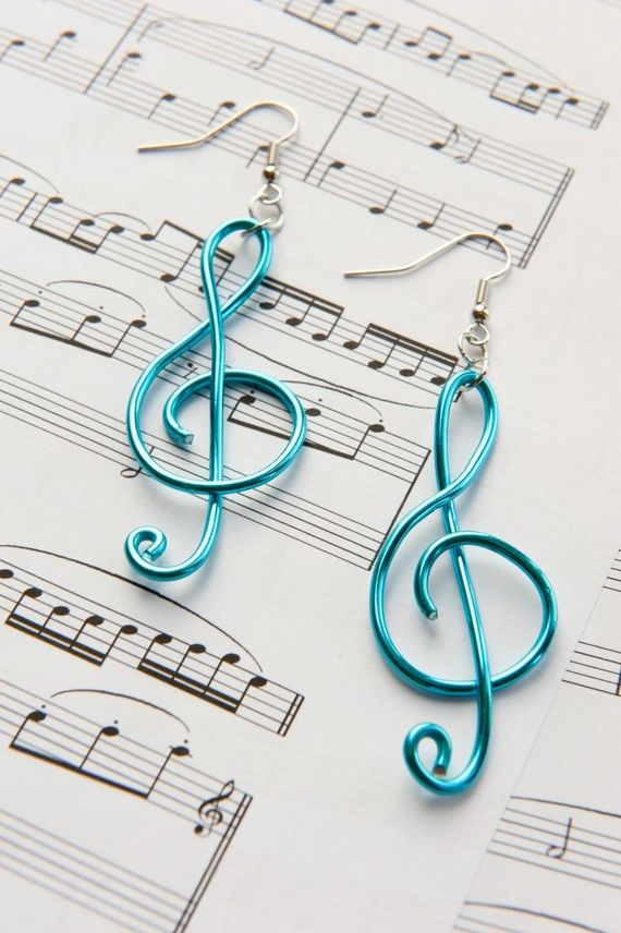 Treble Clef Earrings by caresnia on Etsy, $15.00. Something blue maybe...