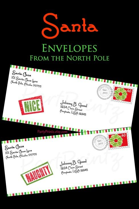 Printable - Santa Envelope from his North Pole Workshop - Custom Sant ...
