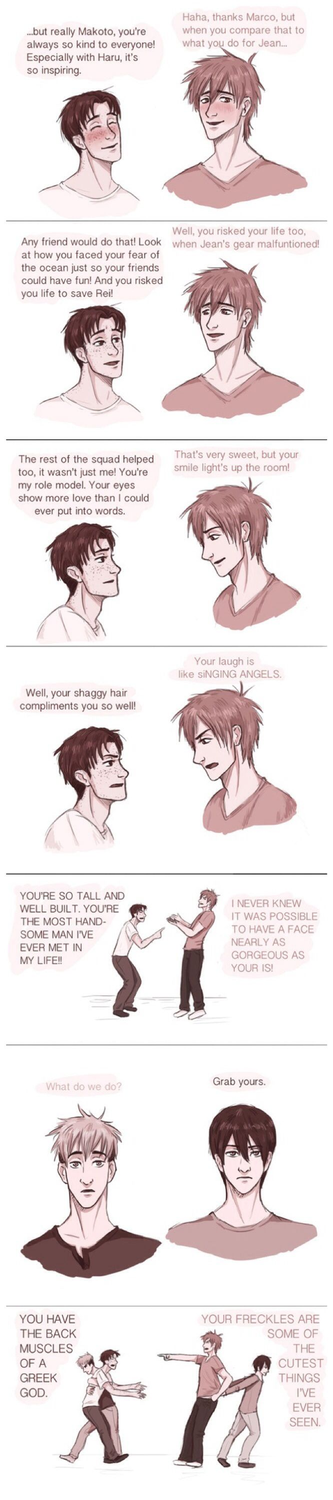 AoT/Free! ~~ Marco and Makoto compare notes... until Jean and Haruka have to break it up. :: THIS IS GREAT!!