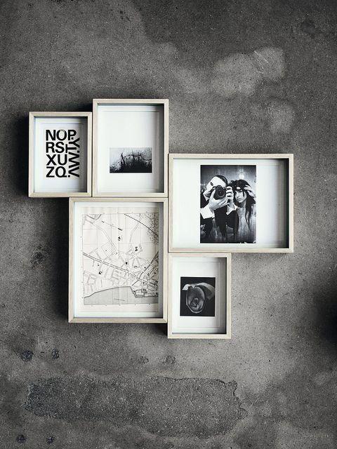 ♅ Dove Gray Home Decor ♅  photo arrangement on concrete wall