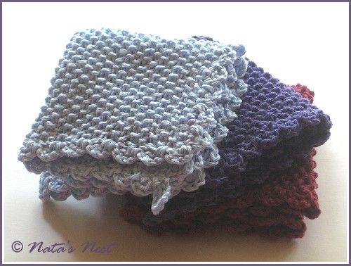 Natas Nest: Knitted Allround Cloth with Crochet Border - Gestrickter Allround-Lappen mit Häkelbordüre