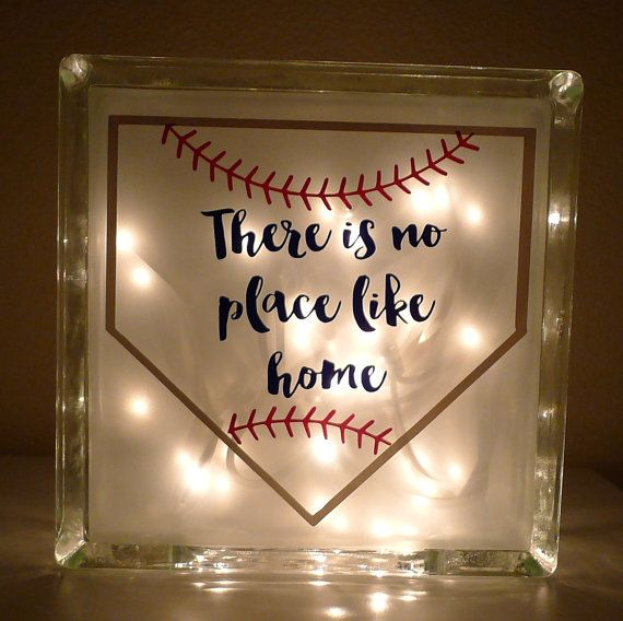 Theres No Place Like Home Plate Baseball Lamp by ShopMissEloise