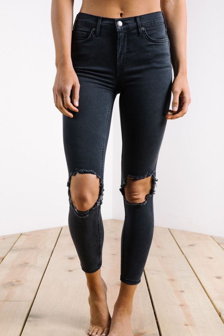 Free People: High Rise Busted Skinny in Washed Black
