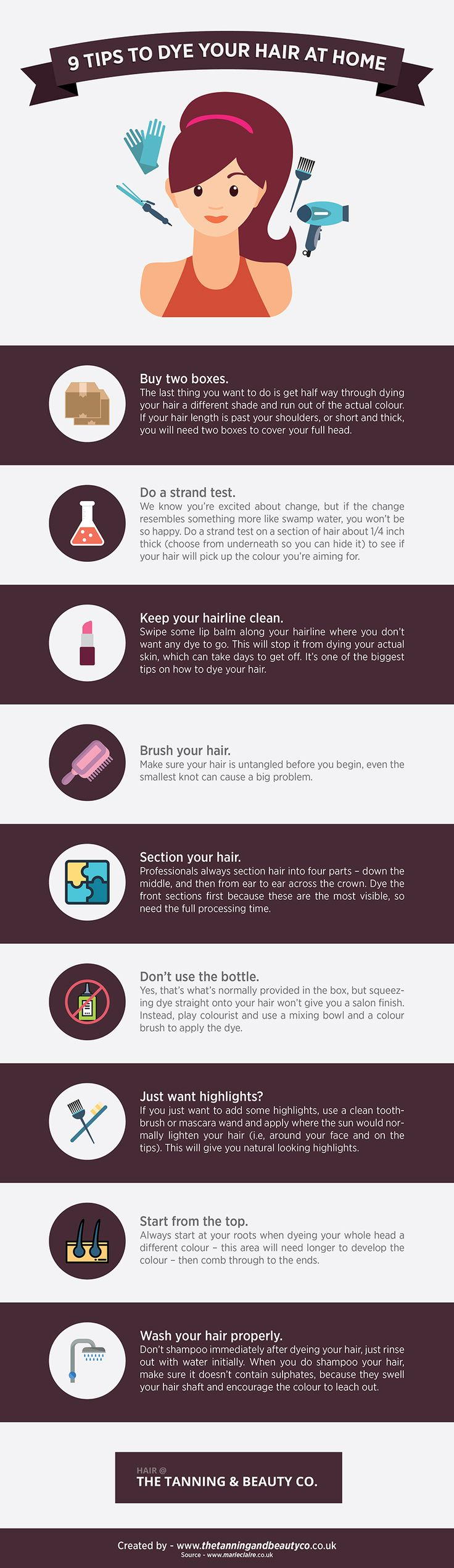 http://www.thetanningandbeautyco.co.uk/hair-dye-infographic/4593746197  In this infographic we share some tips for DIY hair dying at home.