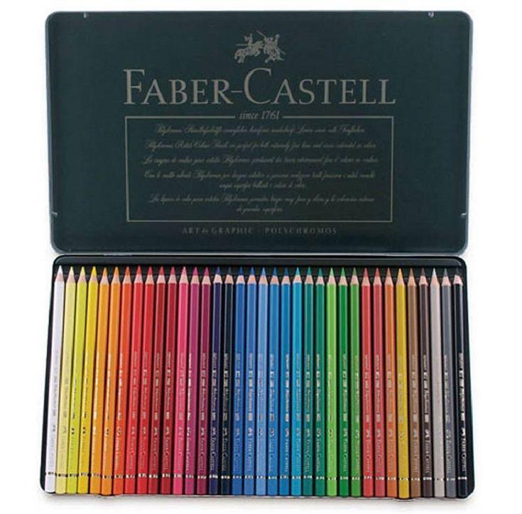 Faber Castell Polychromos Kleurpotloden.  Absolute topkwaliteit op oliebasis.   Zeer hoog pigment gehalte. Water- en veegvast.  Leverbaar in metalen dozen met 12, 24, 36, 60,   en 120 stuks.