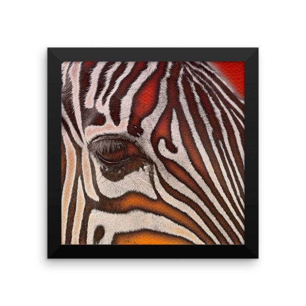 Red Orange Zebra Grunge Framed Art