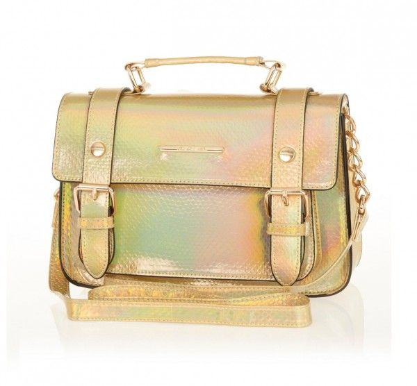 Structured Top-Handle Bags For Work: River Island gold holographic snake-embossed faux leather satchel with top handle, $40, riverisland.com