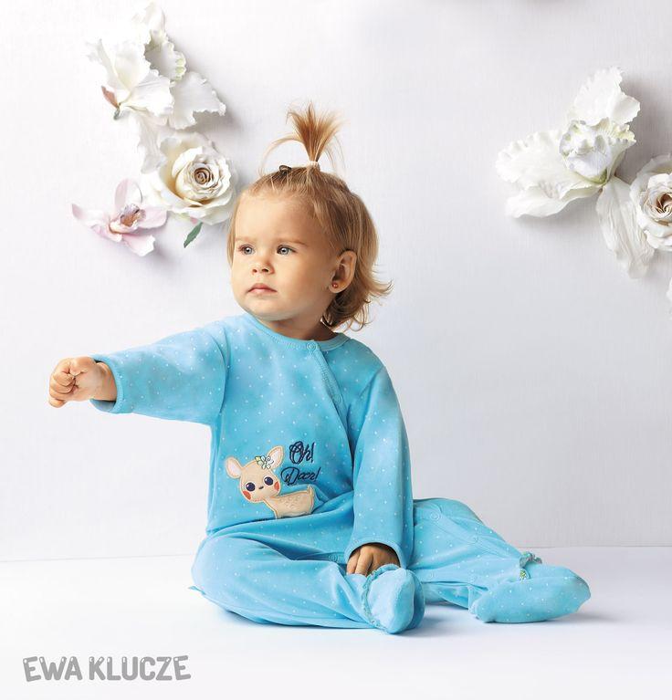 EWA KLUCZE, kolekcja CANDY, jesień zima 2016, pajac welurowy  EWA KLUCZE, CANDY collection, autumn winter 2016, velour sleepsuit, baby girl clothes