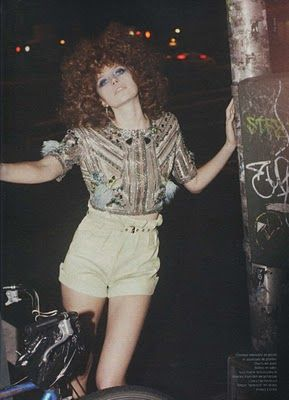 The curly hair and #highwaistedshorts!  http://blog.hippiecouture.com